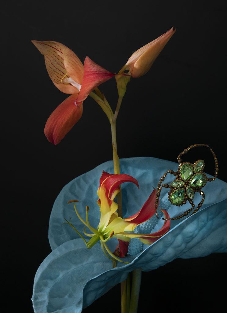 photographie de ©virginie pérocheau. Mise en valeur des broches brodées de l'atelier Noboru. Association fleurs et bijoux en forme d'insectes réalisés avec des perles et des pierres précieuses. Ici les bijoux brodés se mélangent aux créations florales bleues, roses et oranges, les insectes se posent sur les fleurs dont les couleurs semblent surgir du fond noir. Baroques, un peu fantastiques, ces photos inaugurent un univers irréel et féérique.
