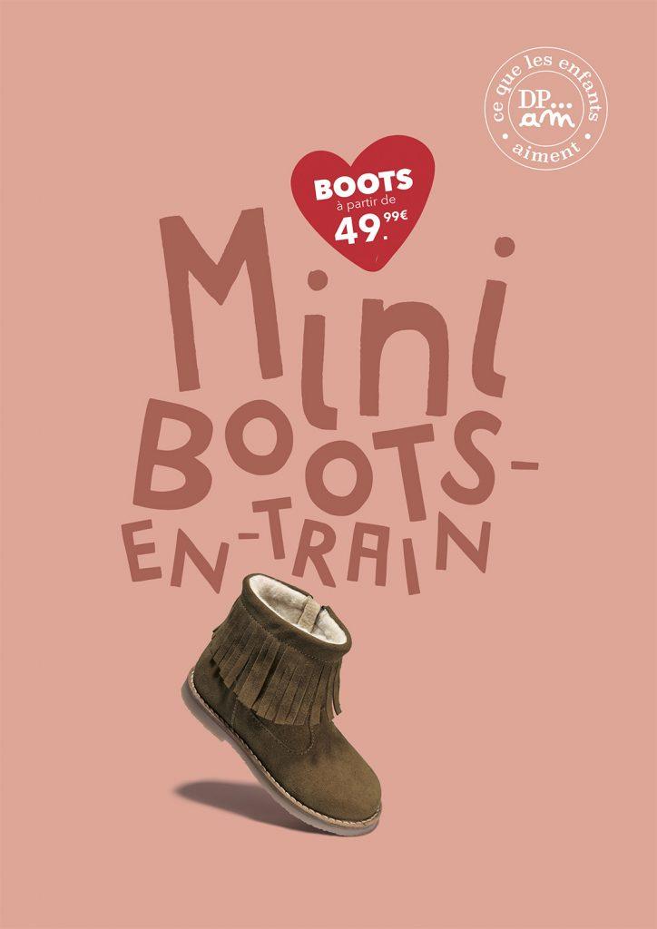 photographie de ©virginie pérocheau. Campagne publicitaire pour les collections chaussures de la marque du pareil au même, spécialisé enfants et bébés. Affiche qui associe une chaussure qui danse et un texte drôle.