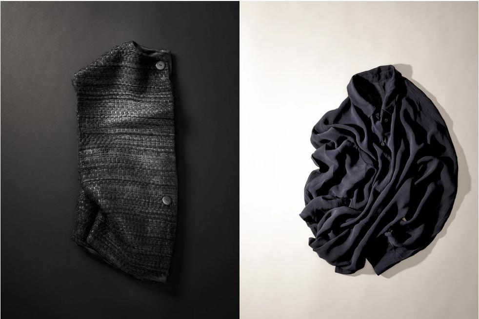 Photographie ©Artistic (in) View Studio. Photos en vis à vis. Présentation d'une veste et d'une chemise de la créatrice Claire Germain. Travail sur le noir sur noir et noir sur beige. Cardigan et chemise