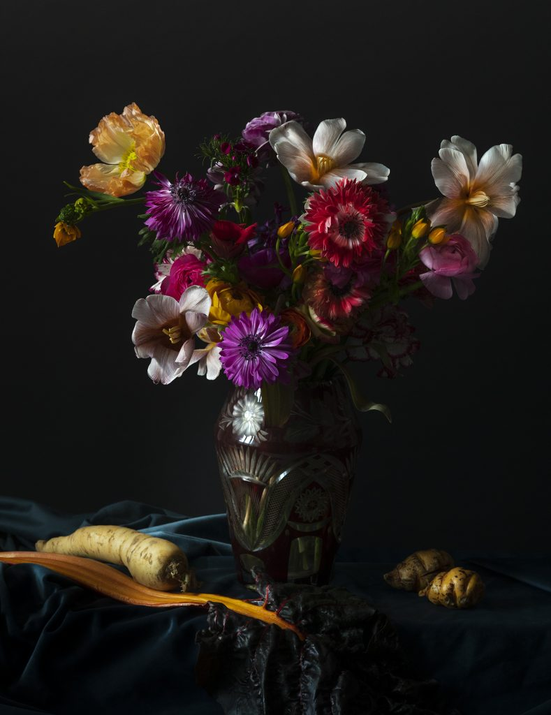 photographie de ©virginie pérocheau @experiencevegetale. Nature Morte picturale. Bouquet fleurs colorées sur fond noir. Vase en verre transparent. Blettes et carottes sur tissu bleu en drapé. Inspiration tableau de la peinture hollandaise. Ecole Dutch
