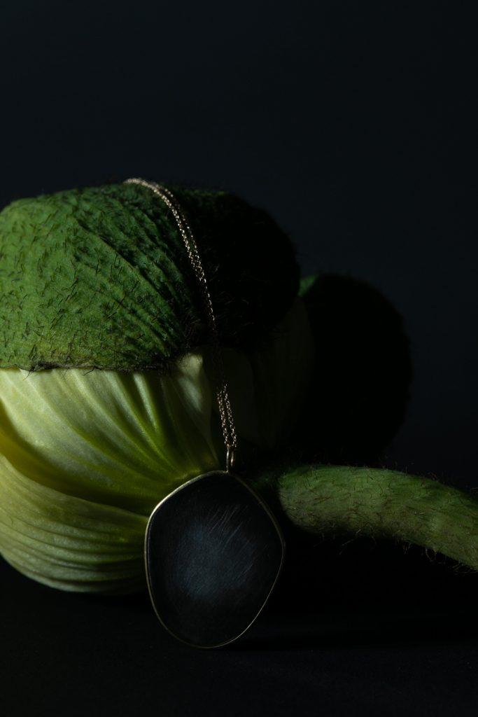 pavot blanc encore fermé pris en macrophotographie avec un pendentif photo de virginie perocheau