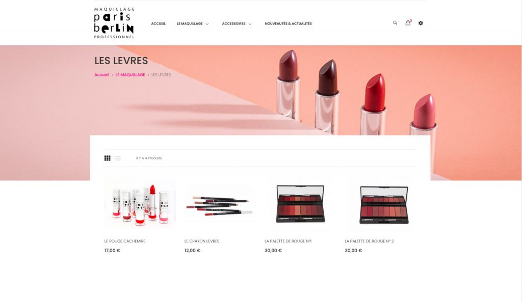 Photographies pour l'e-shop de Paris Berlin, maquillage professionnel