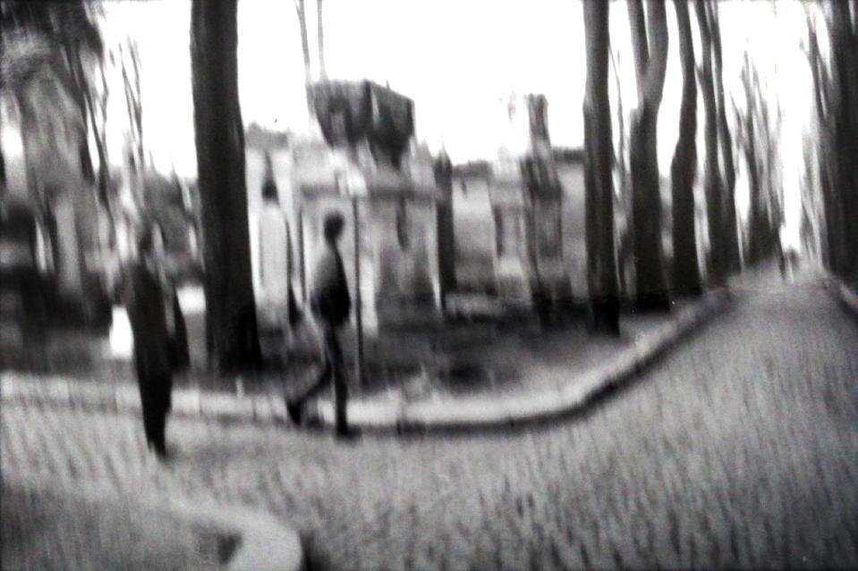 Sténopé photographie noir et blanc positif flou bougécimetiere pere lachaise paris chemin en pavés contraste lomographie